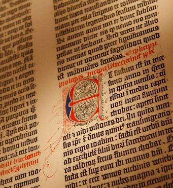 Gutenberg Bible of the New York Public Library, bought by James Lenox in 1847. Printed by Johannes Gutenberg, circa 1455.